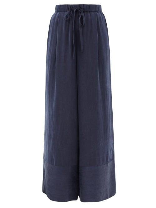 Loup Charmant - Olympia Hammered-silk Palazzo Trousers - Womens - Navy