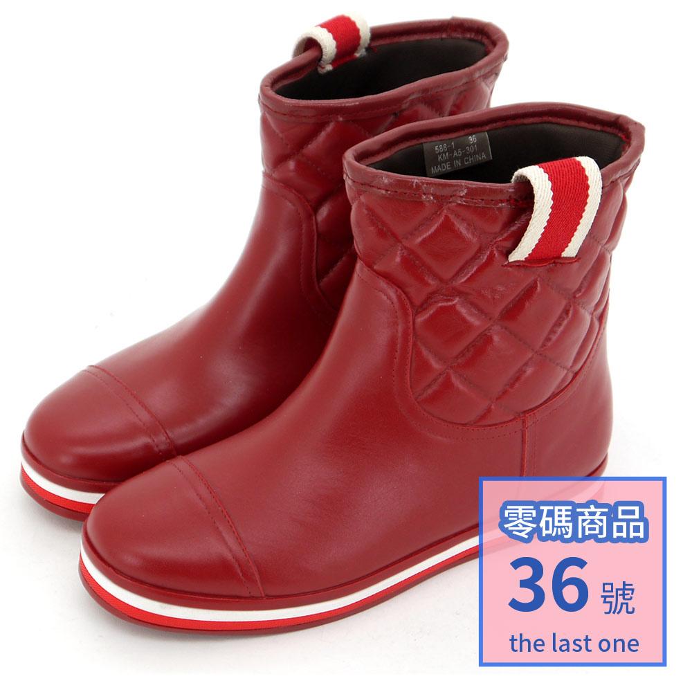 Kuru Mira與日同步-美式休閒撞色格紋平底雨靴-紅