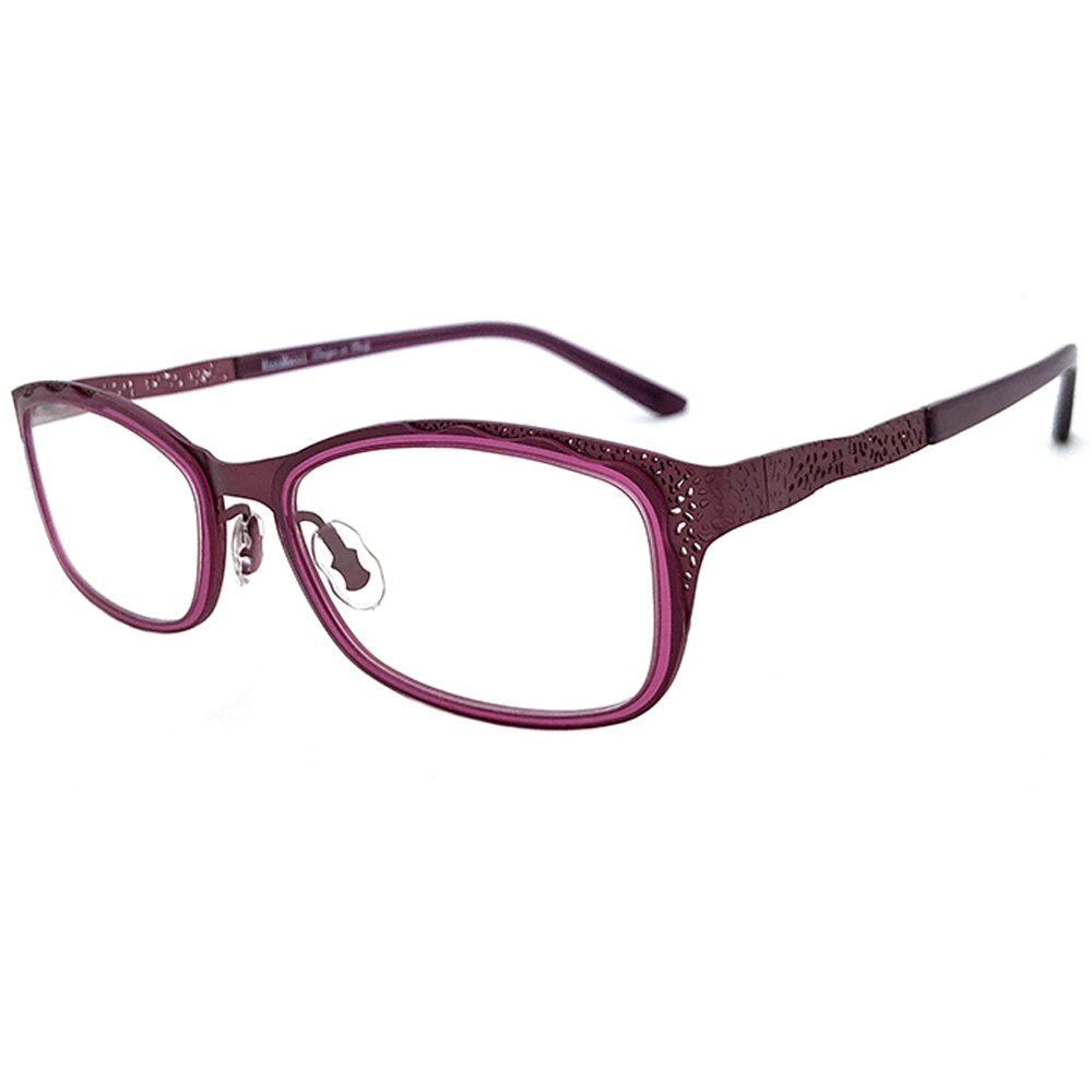 【SUNS】薄鋼系列光學眼鏡鏡框 雕紋紫框(超輕材質/全框)
