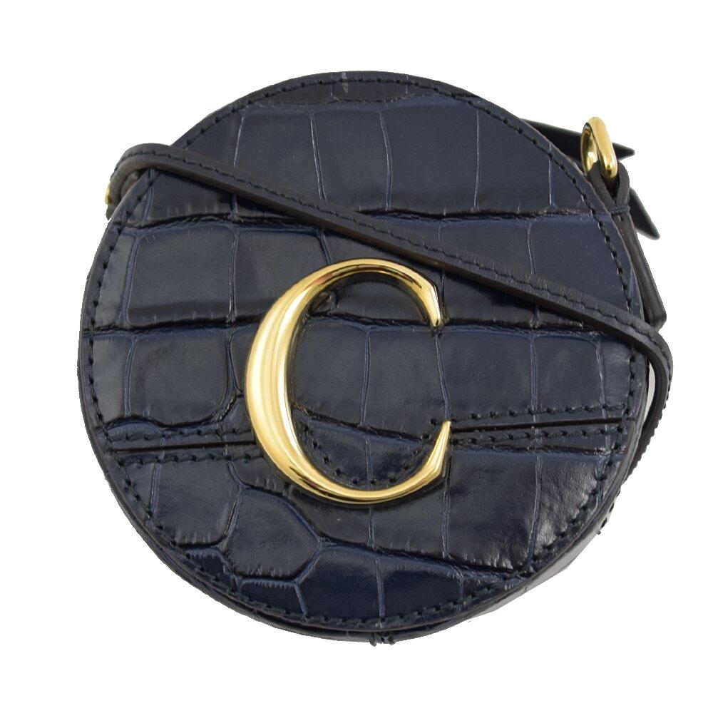 CHLOE 專櫃商品 金屬C Mini 鱷魚紋斜背圓型包.深藍