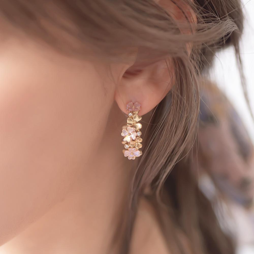 粉彩花圈小C圈鈦針耳環-A20056