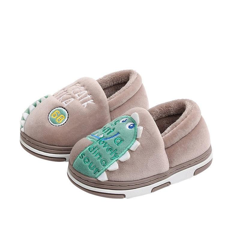 兒童 棉拖鞋 男童包跟 女童保暖 軟底卡通 可愛 1-7歲寶寶 恐龍棉鞋
