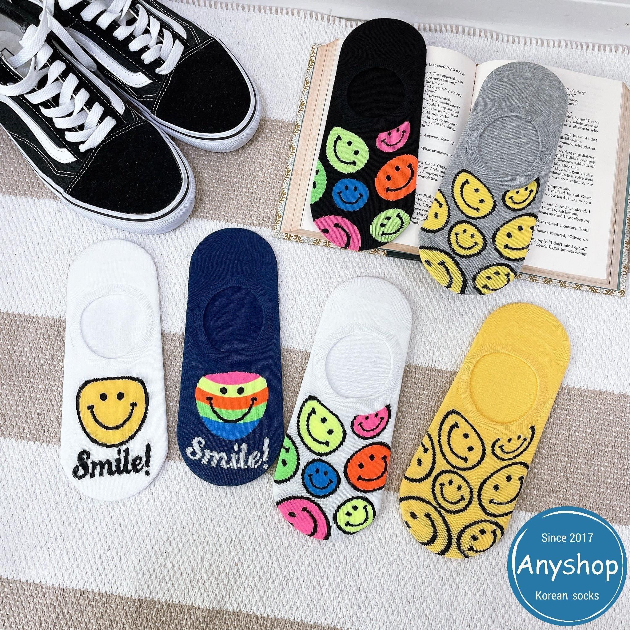 韓國襪-[Anyshop]彩色笑臉滿版船型襪