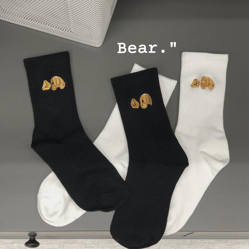 【2雙裝】韓版黑色/白色個性刺繡斷頭小熊棉長筒襪 韓版學院風可愛中筒襪 舒適男女百搭運動襪 高幫襪 男襪 襪子 男生配件