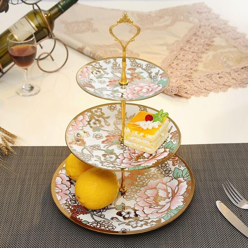歐式陶瓷水果盤客廳創意現代家用下午茶點心架玻璃蛋糕三層托盤子HPXW