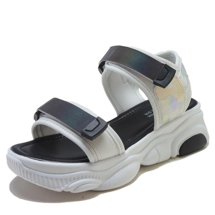厚底防滑學生涼鞋女鬆糕底夏季新款百搭魔術貼時尚軟底涼鞋潮  【喜慶元旦】