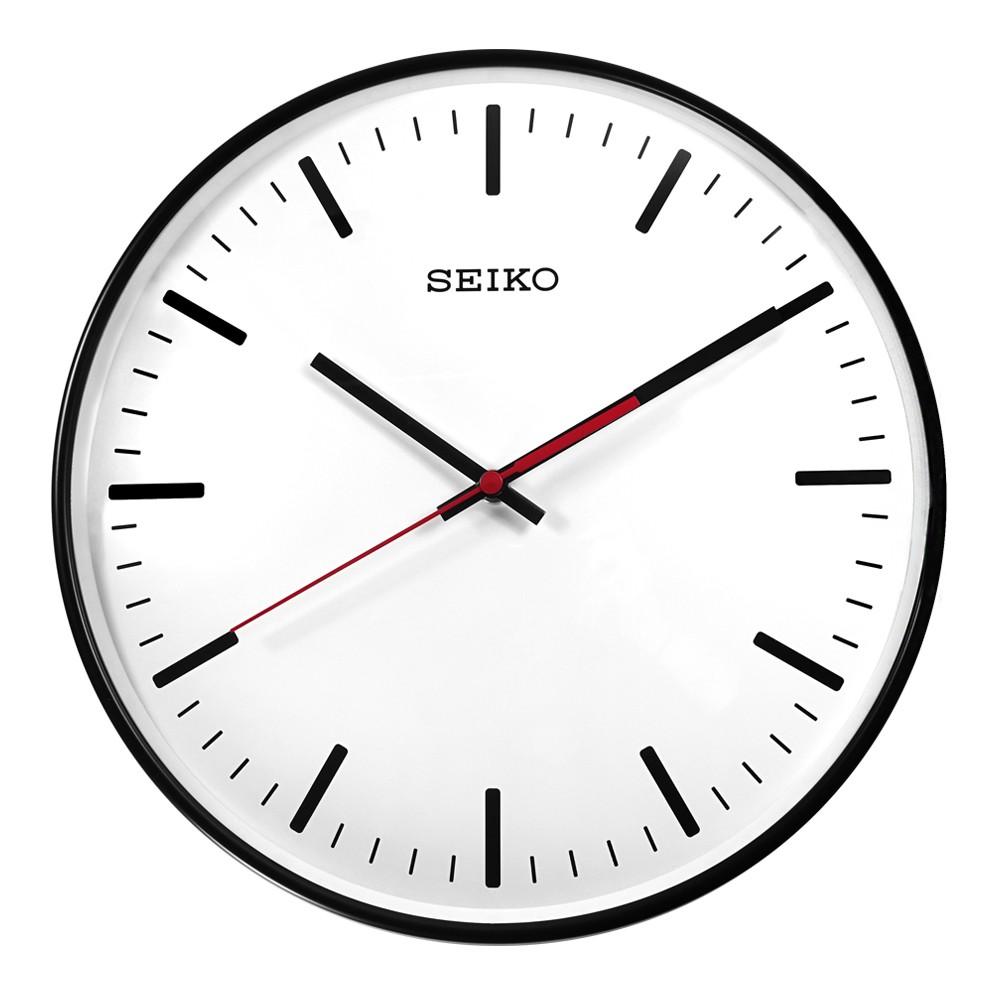 SEIKO 精工 / 簡約時尚 球面型鏡面 滑動式秒針 餐廳客廳臥室 靜音掛鐘 / 白x黑框 / QXA701K