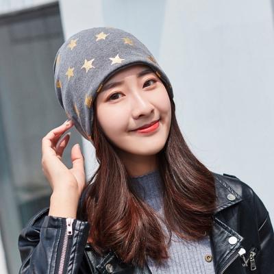 【89 zone】法式五角星燙金優雅透氣多功能保暖套頭防風/頭巾帽 (灰色)