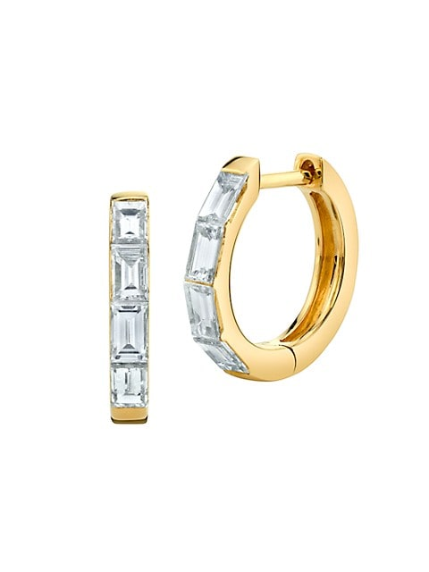 18K Yellow Gold & Baguette Diamond Huggie Hoop Earrings