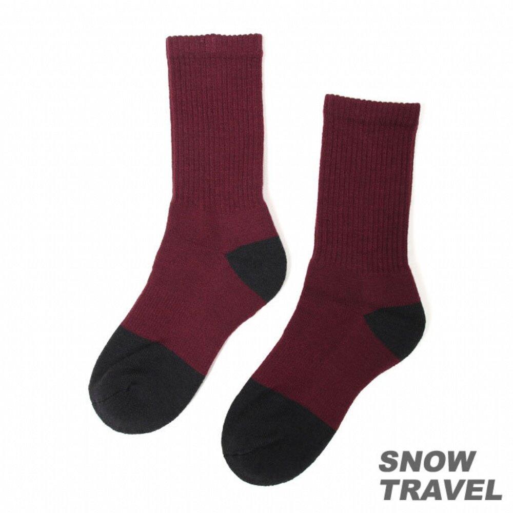 SNOWTRAVEL雪之旅 高級美麗諾羊毛襪 酒紅-黑色