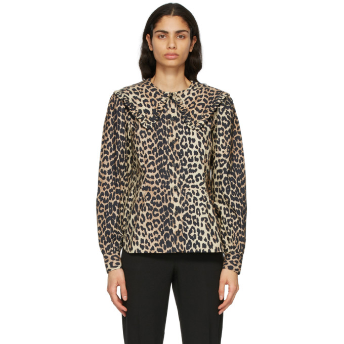GANNI 棕色豹纹衬衫