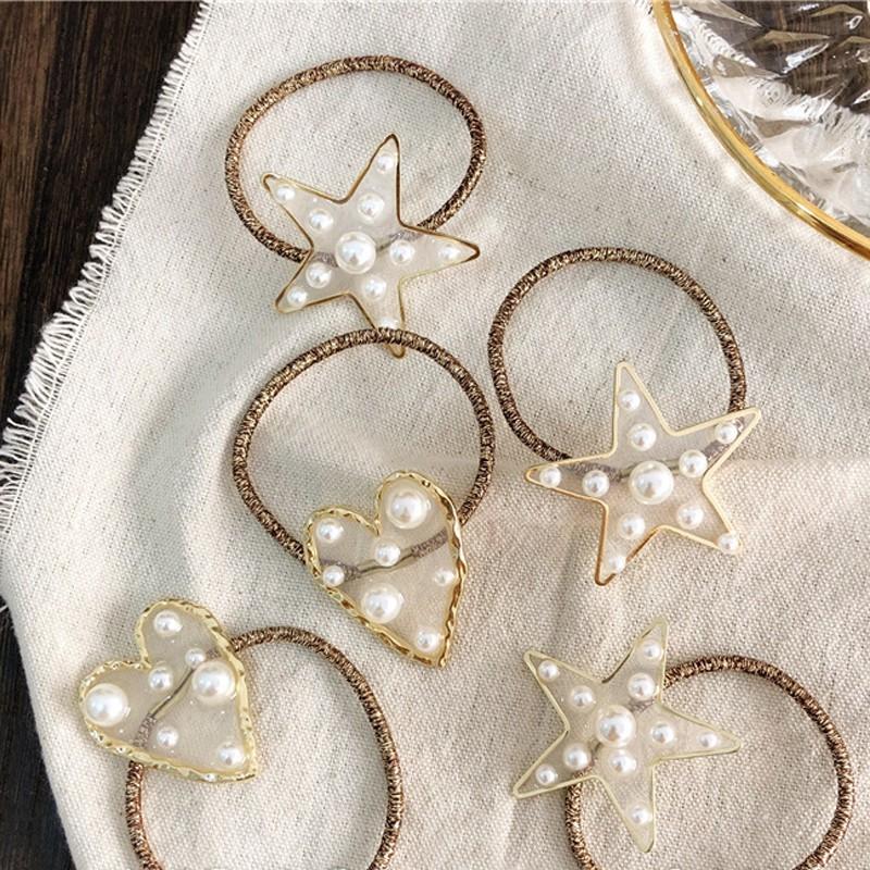 正韓名媛風 金色透明珍珠 星星 愛心 髮圈 髮束 髮繩  髮飾 綁髮圈  馬尾 丸子頭打結zsf55