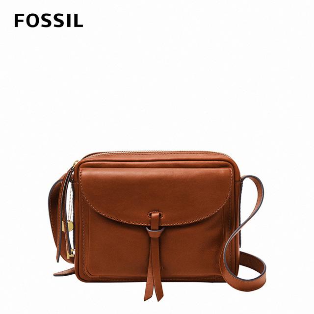 【FOSSIL】 Mila 真皮純色斜背包-棕色 ZB1370213