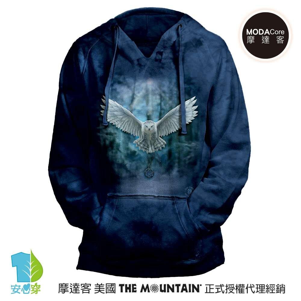 摩達客 (預購)美國進口The Mountain 喚之貓頭鷹 女版V領長袖連帽T恤