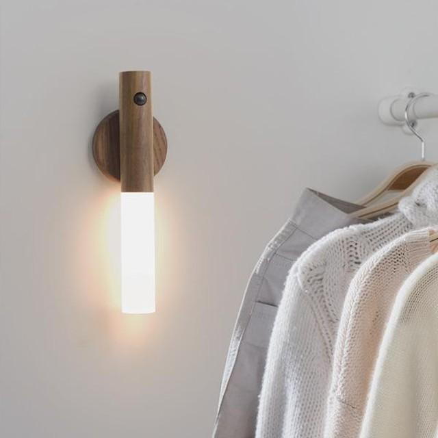 節能燈光柔和不刺眼*【HOIZ SOL】 天然原木智能多功能感應燈 (含無痕磁吸底座)