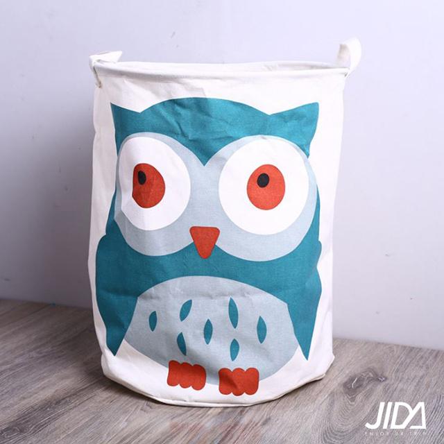 【佶之屋】日雜可愛大容量防水棉麻收納桶 40 x 50 cm - 貓頭鷹款