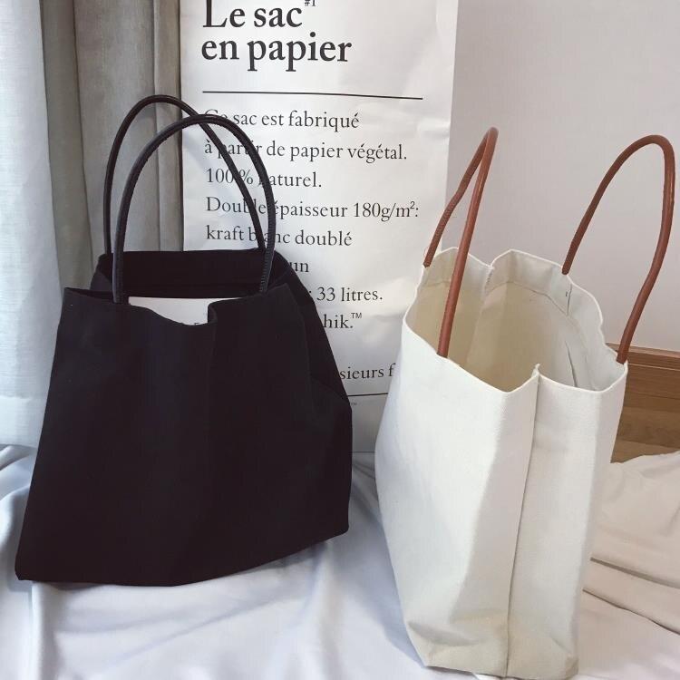 女士手提包 韓國簡約純色帆布袋女文藝單肩帆布包環保袋手提帆布袋大購物袋