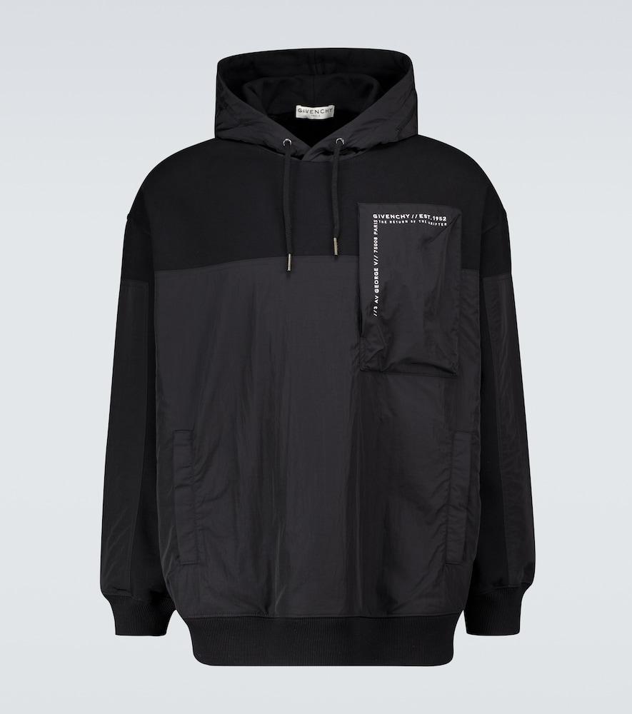 Cotton paneled hooded sweatshirt