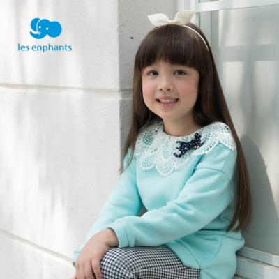 麗嬰房 女童蕾絲淑女長袖上衣-湖藍色
