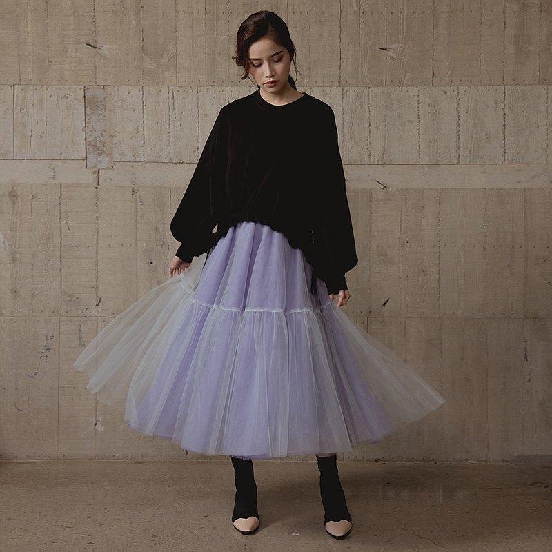 Sugar Lily 紫色夢幻法式手工網紗裙