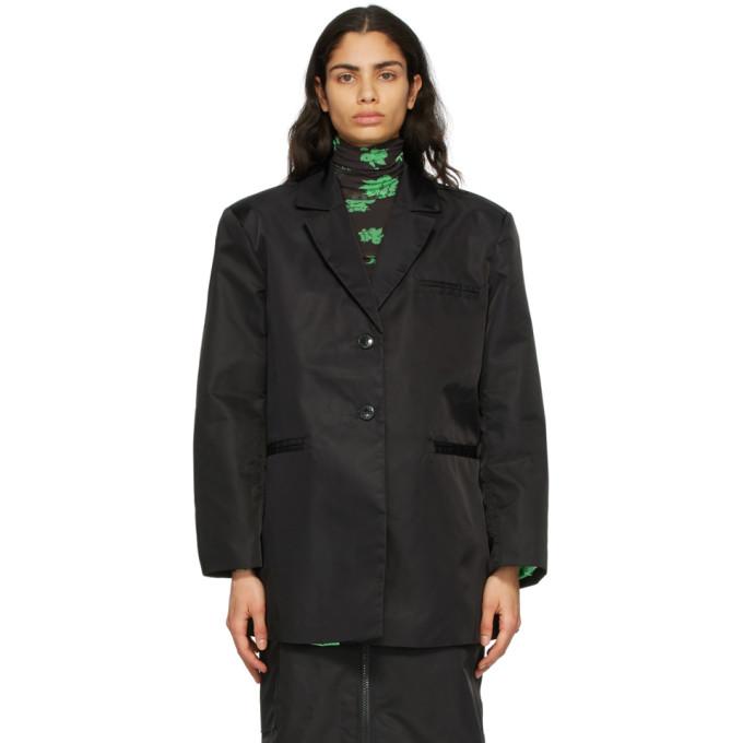 GANNI 黑色大廓形再生尼龙西装外套