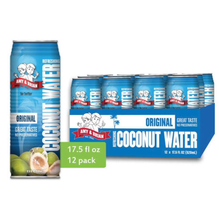 【Amy & Brian】100%含果肉純椰子水/100%純椰子水1箱(520mlx12)★100%純天然、無添加、非基改認證,香甜可口的椰肉,富含膳食纖維