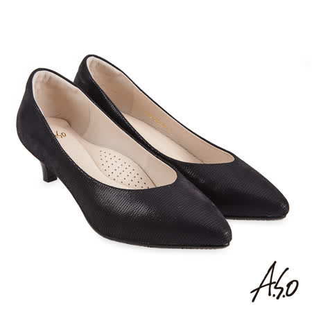 A.S.O 阿瘦 健步通勤極簡拼接壓紋羊皮低跟鞋-黑