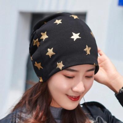 【89 zone】法式五角星燙金優雅透氣多功能保暖套頭防風/頭巾帽 (黑色)