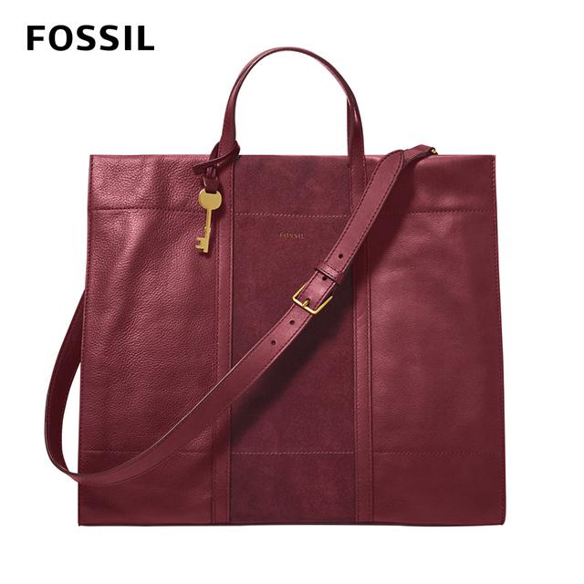 【FOSSIL】 Carmen 真皮x麂皮大容量兩用手提包-咖啡紅 ZB1366599