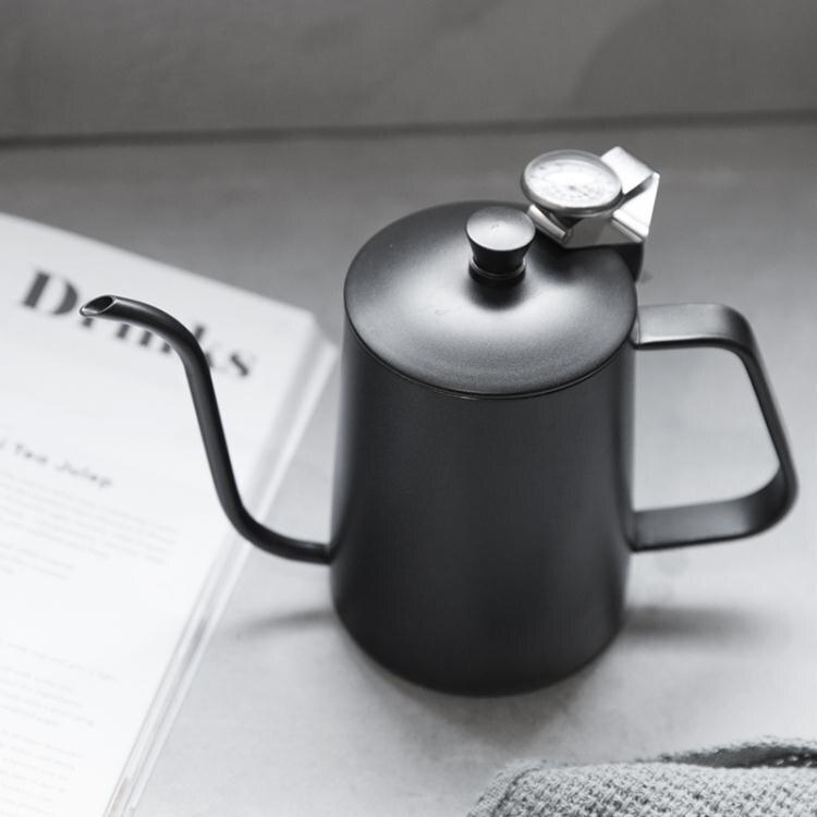 304不銹鋼帶蓋咖啡壺特氟龍細口壺長嘴掛耳手沖壺咖啡器具