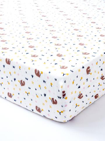 台灣 Organic B 有機比比 嬰兒有機棉紗床包-松鼠覓果子