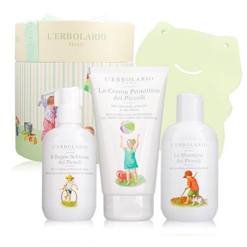 L'ERBOLARIO 蕾莉歐 溫馨寶寶禮盒[花園寶寶呵護乳霜+洗髮精+沐浴乳+沐浴海綿]【美麗購】