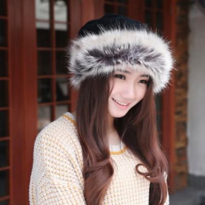 【89 zone】法式毛毛風雪雙層加絨保圍脖兩用暖毛線/針織帽 (黑)