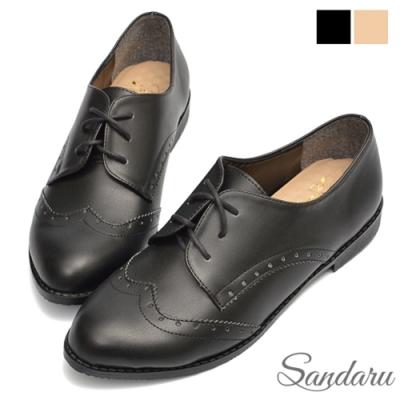 山打努SANDARU-牛津鞋 復古雕花綁帶小皮鞋-黑