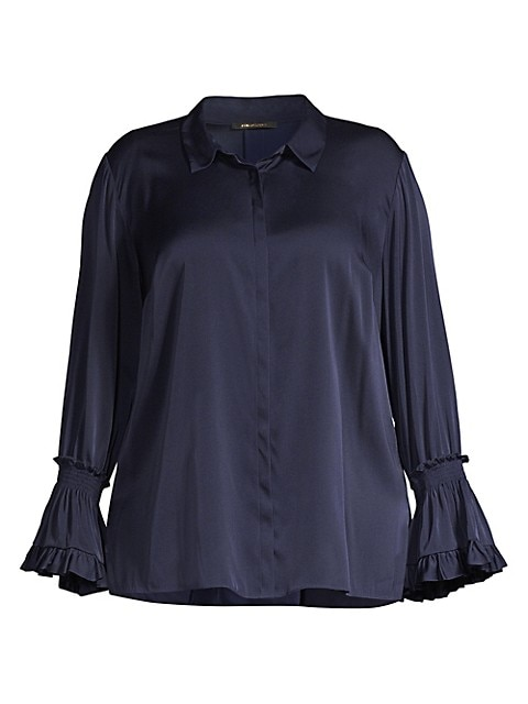 Hannah Plus Size Bell-Sleeve Blouse