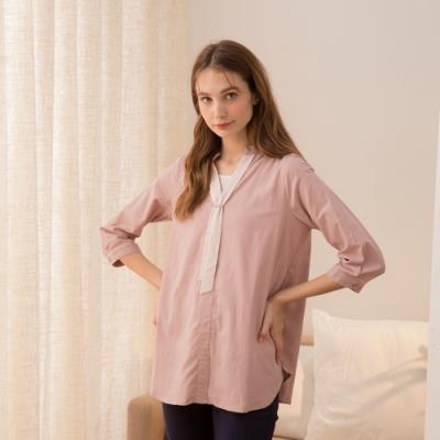 【CUMAR】立領條紋領巾長版上衣-襯衫(三色/魅力商品)
