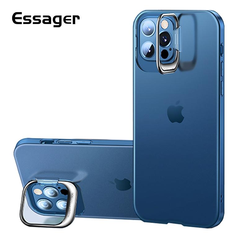 Essager迷你啞光電鍍iPhone 12 11 Pro Max隱形支架手機殼透明保護套後蓋超薄柔軟TPU