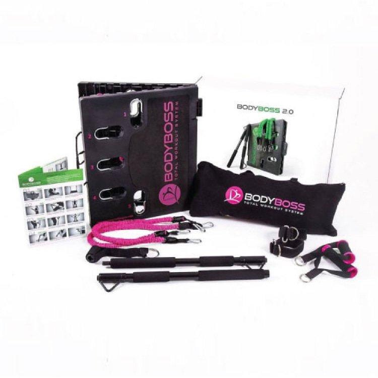 美國 BodyBoss 2.0 行動健身房(粉紅色/綠色)★完整又輕便的健身系統,方便攜帶和多種功能