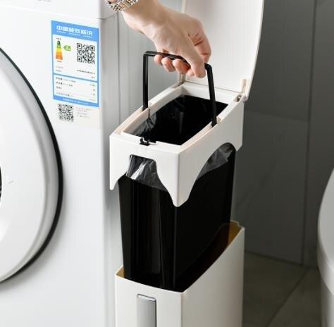 戶外垃圾桶 日本衛生間垃圾桶家用窄縫馬桶刷分類家用一體廁所桶夾縫帶蓋紙簍【全館免運 限時鉅惠】