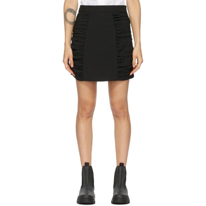 GANNI 黑色重磅绉纱短裙