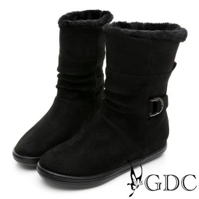GDC-兩穿時尚魅力秋冬絨毛滾邊釦環平底舒適短靴-黑色