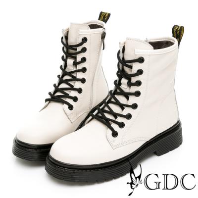 GDC-熱賣款真皮素色百搭搖滾韓風厚底馬丁短靴-米色