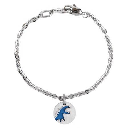 agnes b. - 銀X藍雙色圓型恐龍logo 墜飾手鍊(銀x藍)