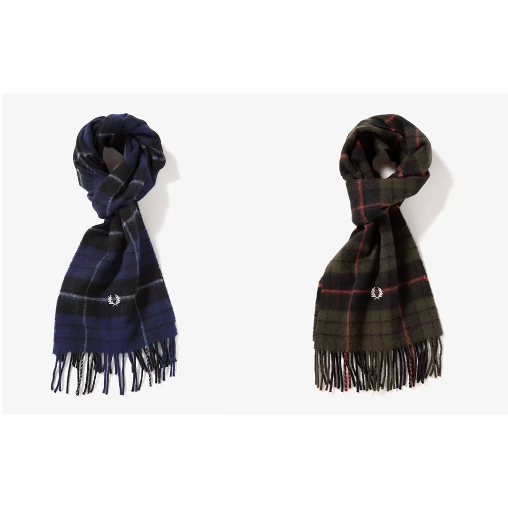Fred Perry 格紋圍巾 叢林綠/暗藍 兩色 圍巾 針織圍巾 羊毛圍巾 配件 秋冬限定 復古英倫風 抗寒 保暖