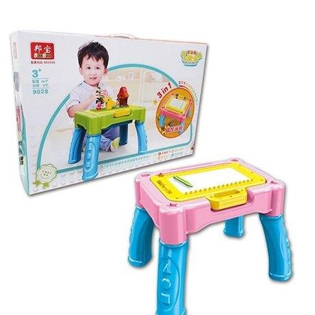 3in1多功能積木學習桌 粉色