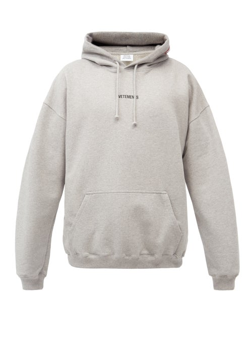 Vetements - Logo-patch Cotton-blend Jersey Hooded Sweatshirt - Mens - Grey