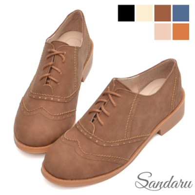 山打努SANDARU-牛津鞋 雕花綁帶磨砂麂皮低跟鞋-咖啡