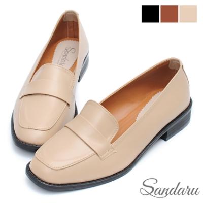 山打努SANDARU-方頭鞋 極柔軟素色皮革紳士鞋-米