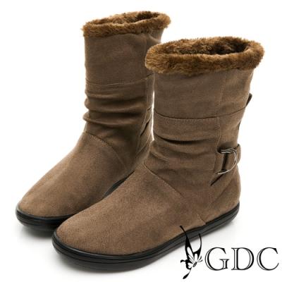 GDC-兩穿時尚魅力秋冬絨毛滾邊釦環平底舒適短靴-深灰色