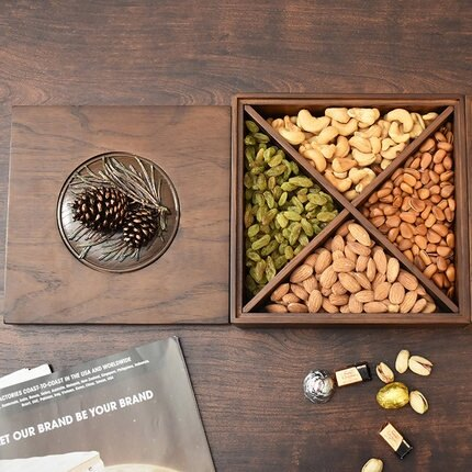實木乾果盒 乾水果盤北歐風格雙層旋轉客廳分格帶蓋家用瓜子零食盤糖果收納盒